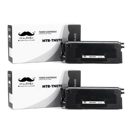 Compatible Brother TN570 cartouche de toner haute capacite pour TN540 - Moustache@ - 2/paquet