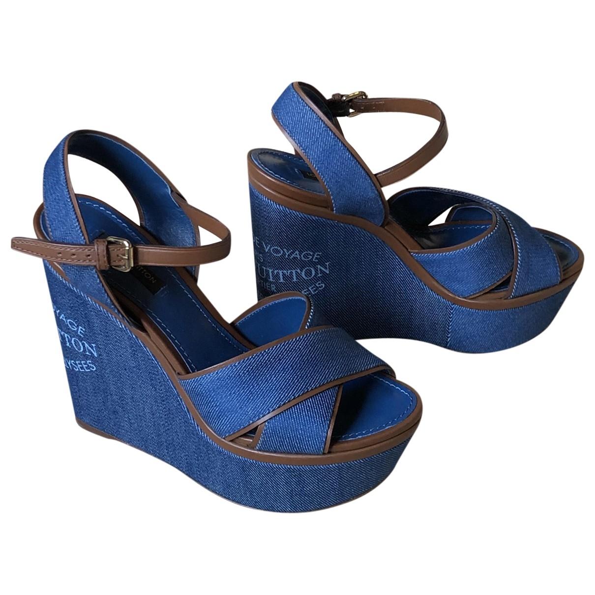 Louis Vuitton - Sandales   pour femme en toile - bleu