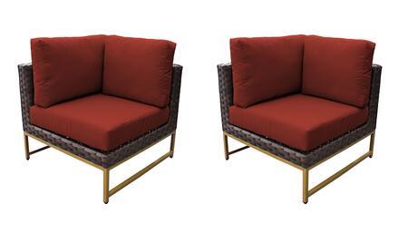 TKC049b-CS-DB-GLD-TERRACOTTA Barcelona Corner Chair 2 Per Box - Beige and Terracotta