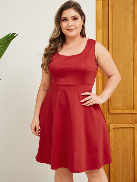 YOINS Plus Siz Red Square Neck Sleeveless Dress