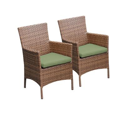 TKC093b-DC-CILANTRO 2 Laguna Dining Chairs With Arms with 2 Covers: Wheat and