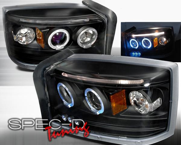 SpecD Black Halo Projector Headlights Dodge Dakota 05-08