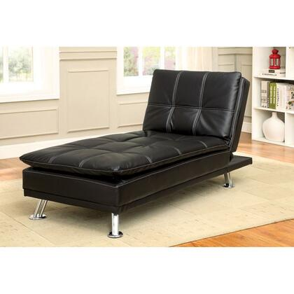 Hauser Collection CM2677BK-CE 65 Chaise with Converts into Bed  Chrome Legs and Leatherette Upholstery in