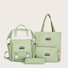 4pcs Letter Graphic Backpack With Tote Bag