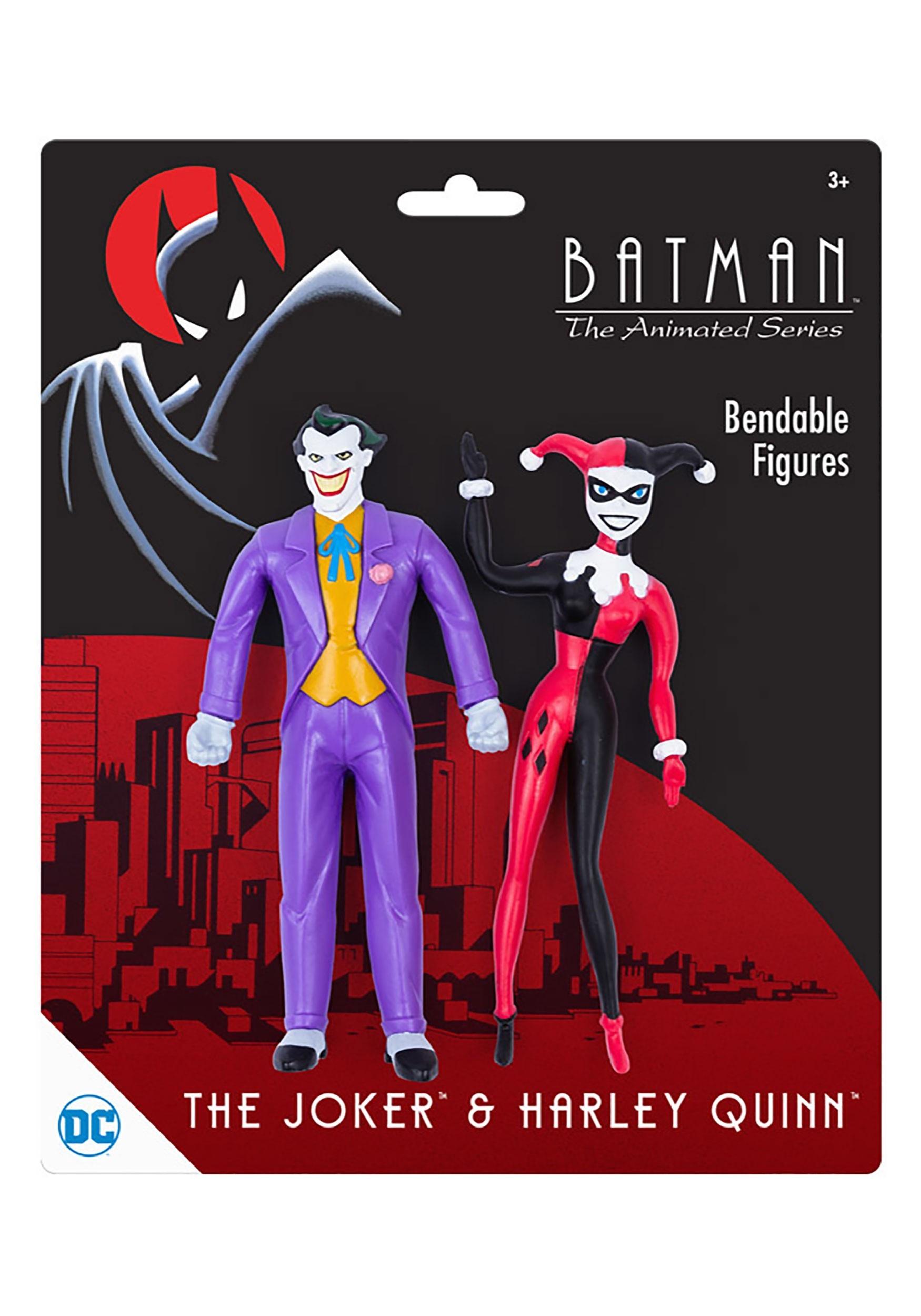 DC Comics Batman The Animated Series Joker & Harley Quinn Bendable Figures