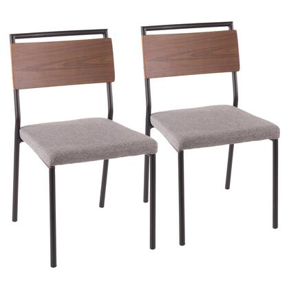 Fiji Collection DC-FIJIBK+GY2 Set of 2 Dining Chairs with Walnut Wood Back  Contemporary Style and Fabric Upholstery in Grey