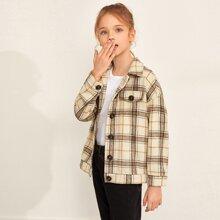 Jacke aus Wollmischung mit Plaid Muster und Klappe