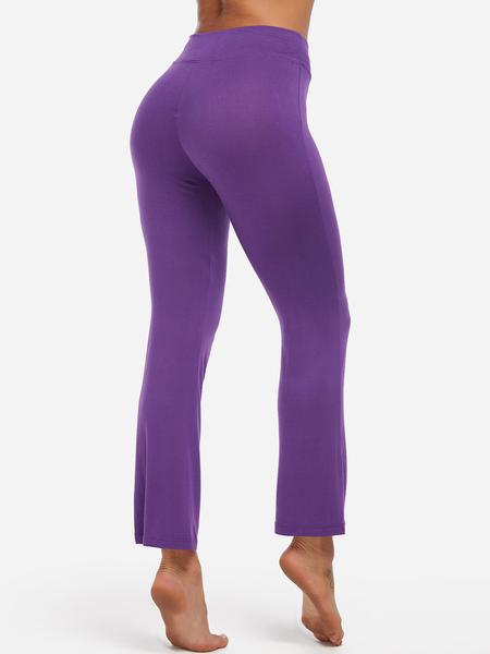Yoins Purple Drawstring Waist Bat foot Active Bottoms