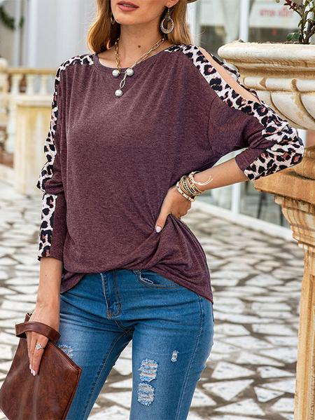 Yoins Leopard Patch Round neck Cut out T-shirt