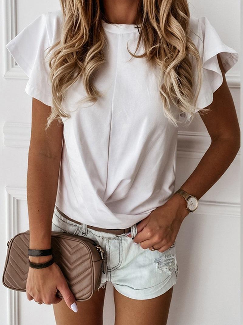 Ericdress Plain Standard Short Sleeve Casual Slim T-Shirt