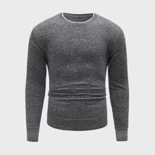 Pullover mit Space Dye und rundem Kragen