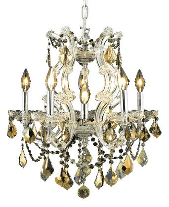 2800D20C-GT/RC 2800 Maria Theresa Collection Hanging Fixture D20in H25in Lt: 5+1 Chrome Finish (Royal Cut Golden