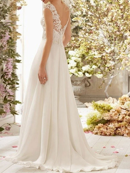 Milanoo Wedding Dress A Line V Neck Sleeveless Lace Flora Beaded Bridal Dresses With Train