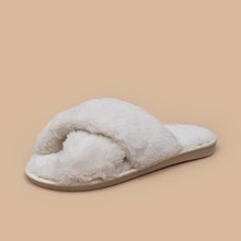 Fluffy Open Toe Slippers