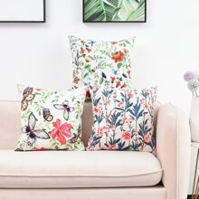 1pc Floral Pattern Cushion Cover Without Filler