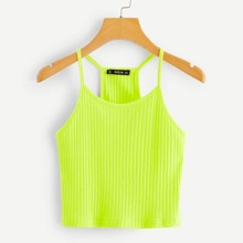 Neon Lime Rib-knit Crop Cami Top