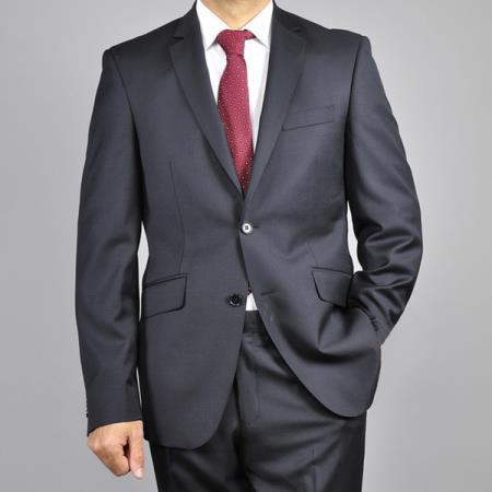 Mantoni Mens Black 2Button Wool SlimFit Suit