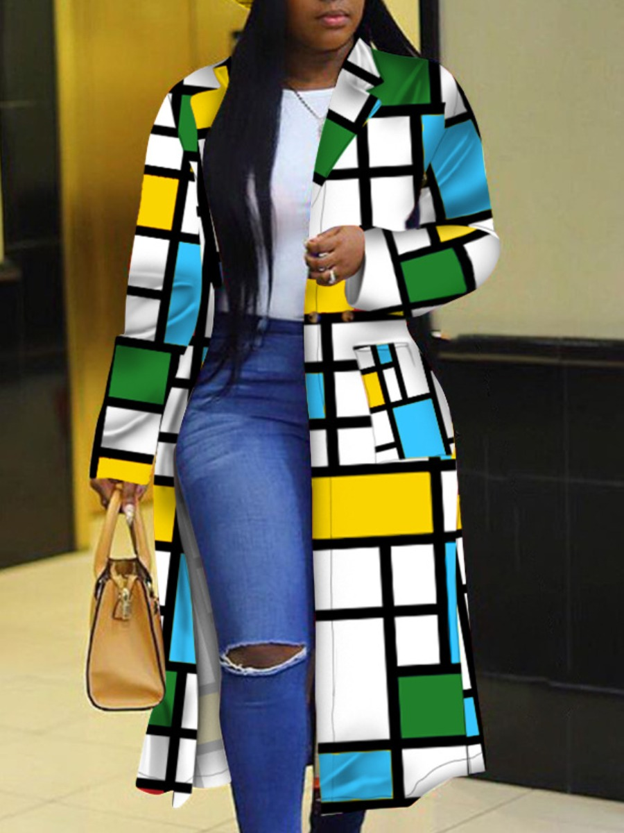LW lovely Stylish Turndown Collar Print Blue Long Plus Size Coat