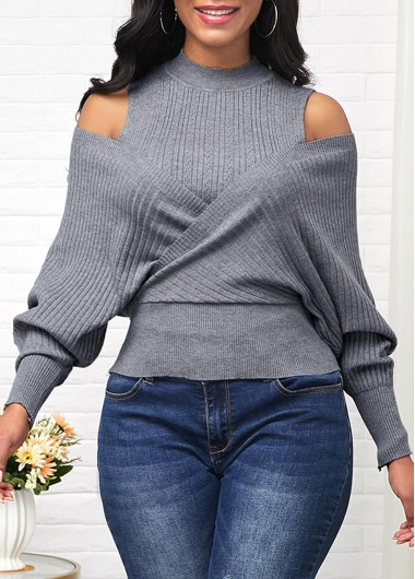 Women'S Grey Cold Shoulder Mock Neck Long Sleeve Sweater Solid Color Tunic Casual Jumper By Rosewe - L