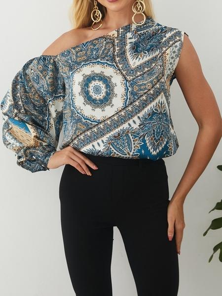 Yoins Elegant Paisley Print One Shoulder Puff Sleeves Blouse