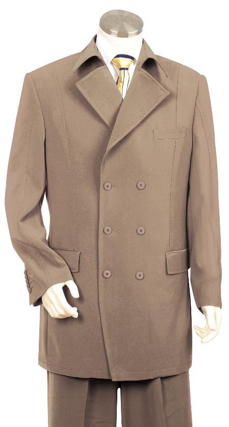 6 Button Khaki  Zoot Suit Mens