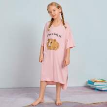Girls Split High Low Hem Animal & Slogan Graphic Nightdress