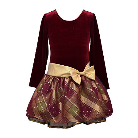 Bonnie Jean Toddler Girls Long Sleeve Drop Waist Dress, 2t , Red