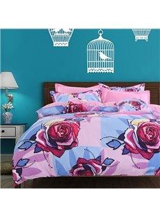Adorila 60S Brocade Multi-Color Roses Blooming 4-Piece Cotton Bedding Sets/Duvet Cover