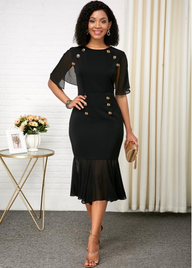Black Dresses Black Chiffon Patchwork Button Detail Dress - 14