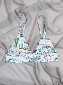 Plant Print Triangle Bikini Top