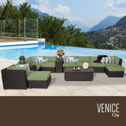 VENICE-13a-CILANTRO Venice 13 Piece Outdoor Wicker Patio Furniture Set 13a with 2 Covers: Wheat and