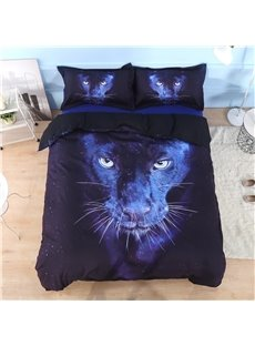 Vivilinen Wild Panther Printed Cotton 4-Piece Black 3D Bedding Sets/Duvet Covers