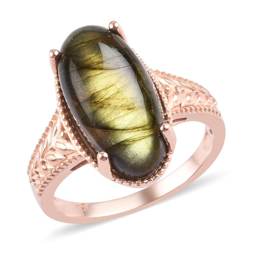 Copper Rose Gold Over Labradorite Statement Ring Size 7 Ct 11 - Ring 7 (Labradorite - Multi - Ring 7)