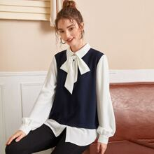 Collared Tie Neck Two Tone Top