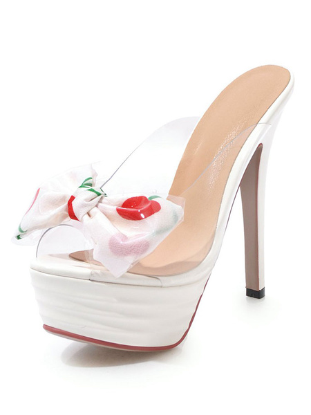 Milanoo High Heel Sandals White Platform Open Toe Bow Backless Sandal Slippers
