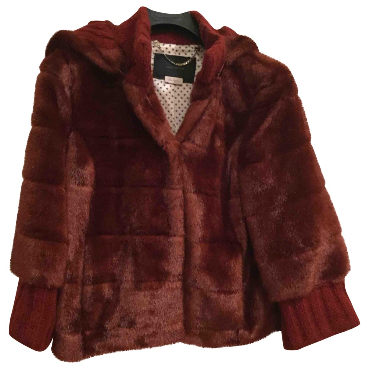 Non Signé / Unsigned \N Burgundy Faux fur jacket for Women 42 IT