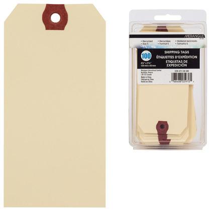 Merangue@ etiquettes d'exp edition en papier manille, Paquet de 100 - 4-3/4 x 2-3/8