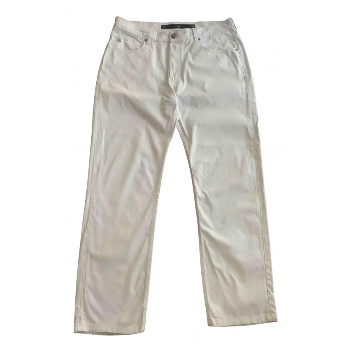 Fay - Jean   pour homme en coton - elasthane - blanc