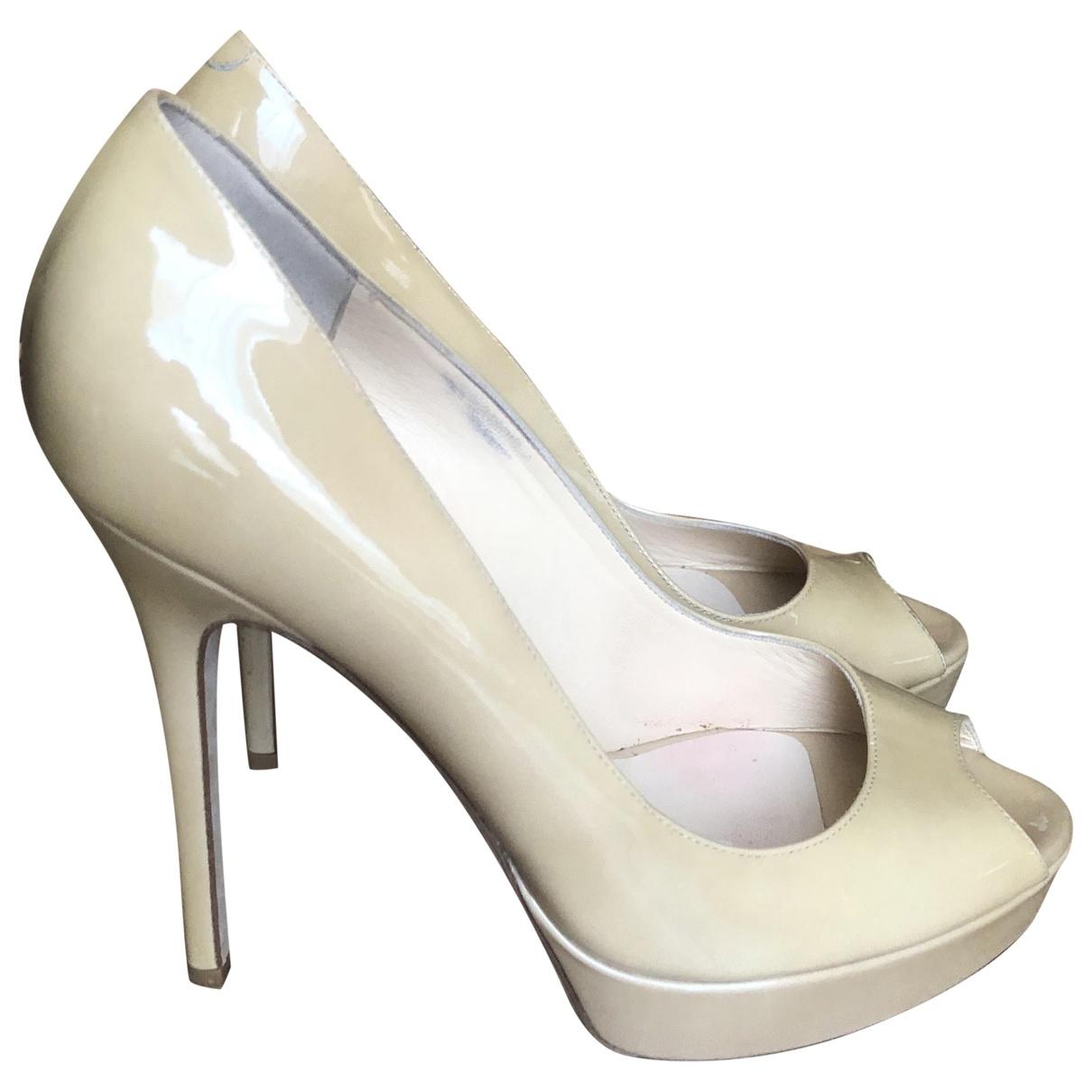 Jimmy Choo \N Beige Patent leather Heels for Women 38 EU