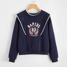 Sweatshirt mit Buchstaben Grafik und Kontrast Bindung