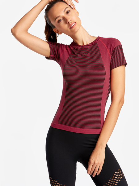 Yoins Red Stripe Details Letter Print Crew Neck Short Sleeves Sport T-shirt