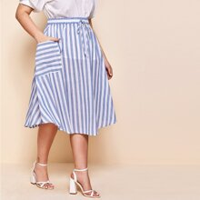 Plus Knot Waist Pocket Patched Striped Skirt