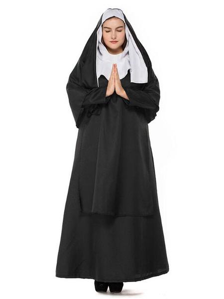 Milanoo Black Halloween Costume Hood Dress Polyester Women Nun Set Halloween Holidays Costumes