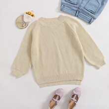 Pullover mit Raglanaermeln, Schlitz und Stufensaum