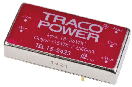 TRACOPOWER TEL 15 15W Isolated DC-DC Converter Through Hole, Voltage in 18 → 36 V dc, Voltage out ±15V dc