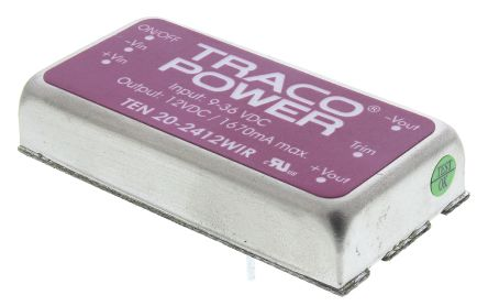 TRACOPOWER TEN 20WIR 20W Isolated DC-DC Converter Through Hole, Voltage in 9 → 36 V dc, Voltage out 12V dc