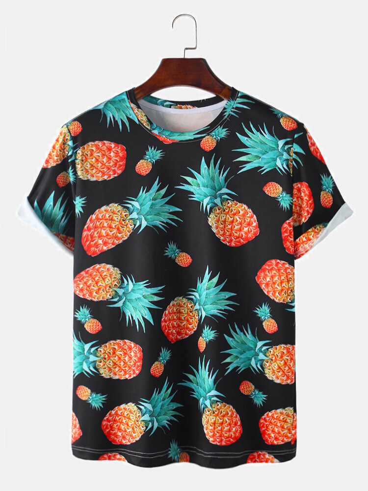 Mens Allover Pineapple Print Casual Loose Light O-Neck T-Shirts