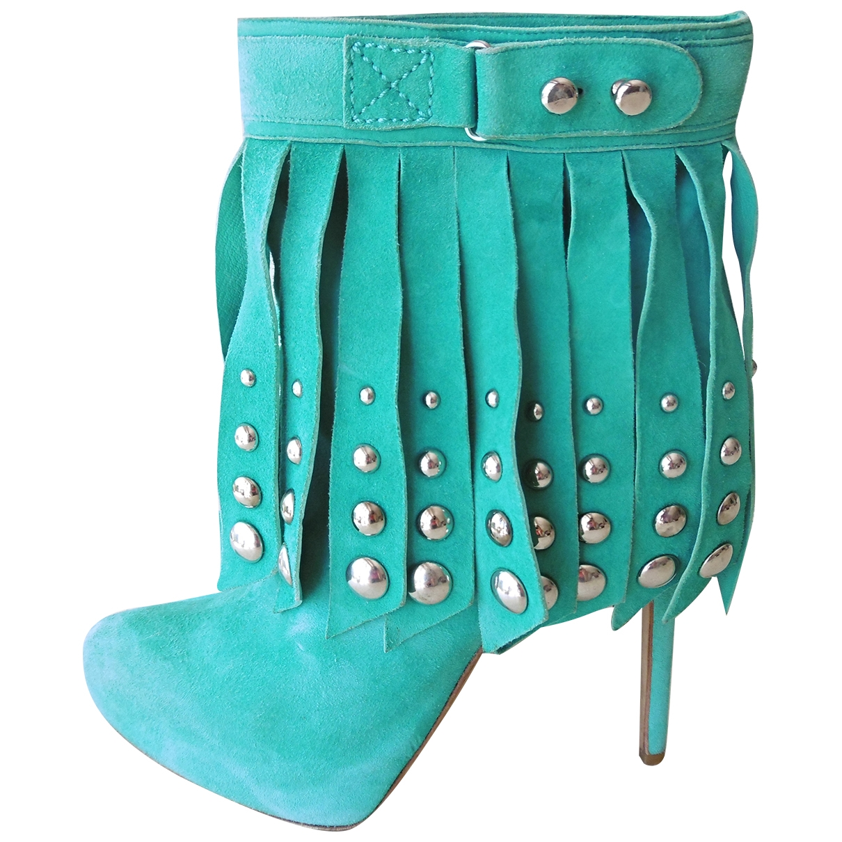 Gianmarco Lorenzi \N Turquoise Suede Ankle boots for Women 38.5 IT