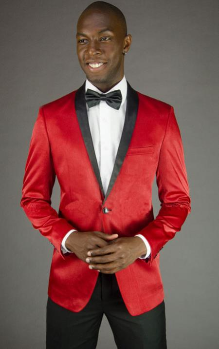 Mens 2 Button Red Velvet Slim Fit Tuxedo Jacket