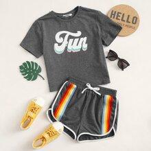 Maedchen T-Shirt mit Buchstaben Grafik & Delphin Shorts mit Regenbogen Streifen